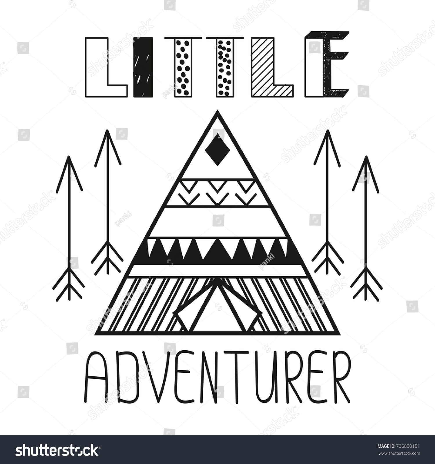 Little Adventurer Slogan Child Vector Illustration Stock Vector