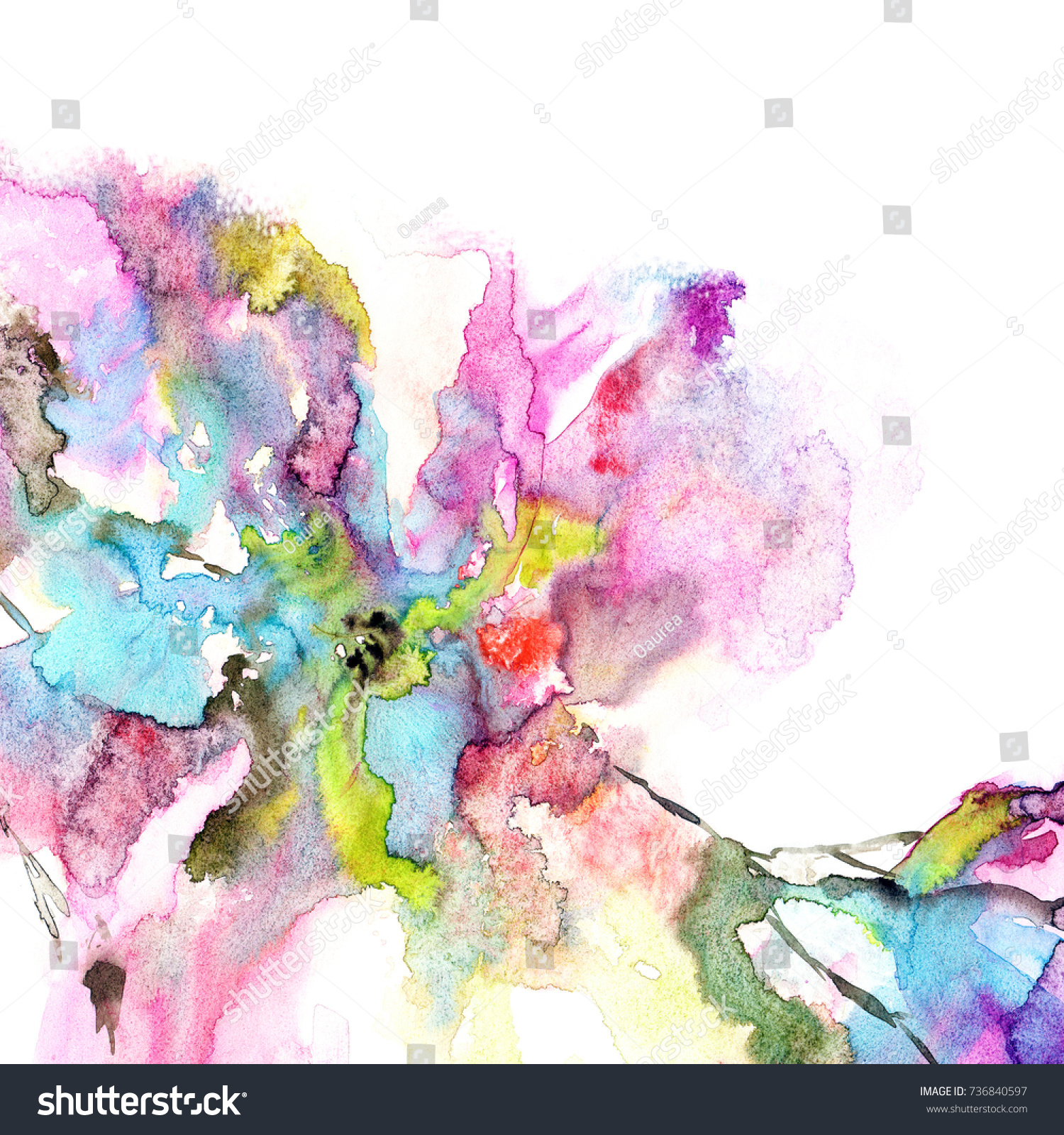 Abstract Flower Floral Background Watercolor Flower Stock