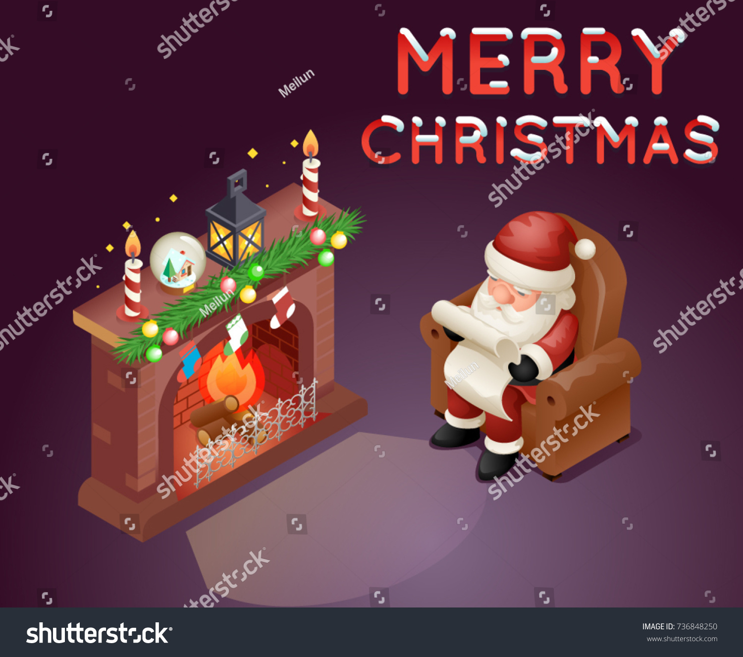 isometric 3d santa claus read gift stock vector 736848250