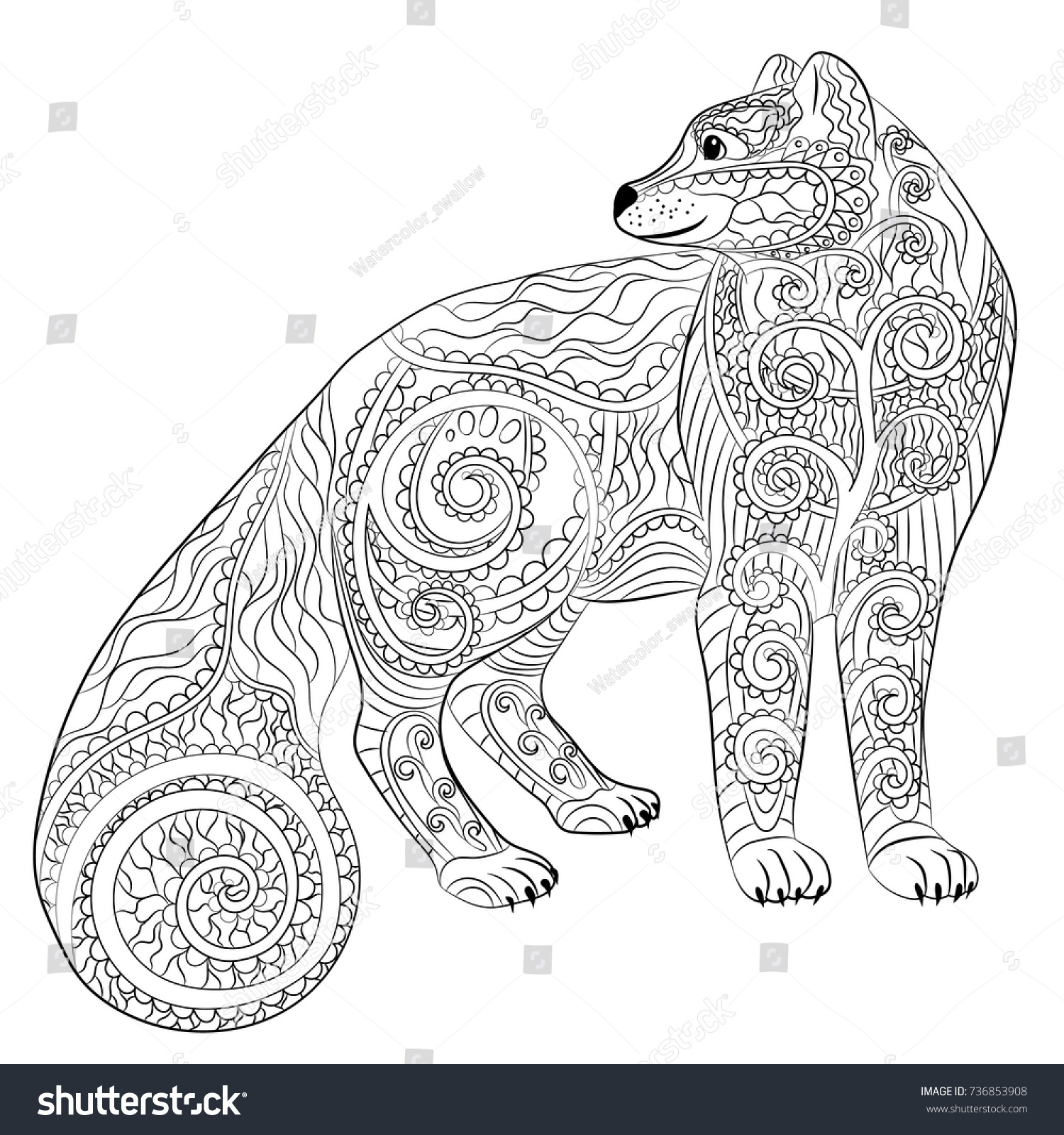 arctic fox coloring pages Hand Drawn Illustration Arctic Fox Zentangle Stock Vector (Royalty  arctic fox coloring pages