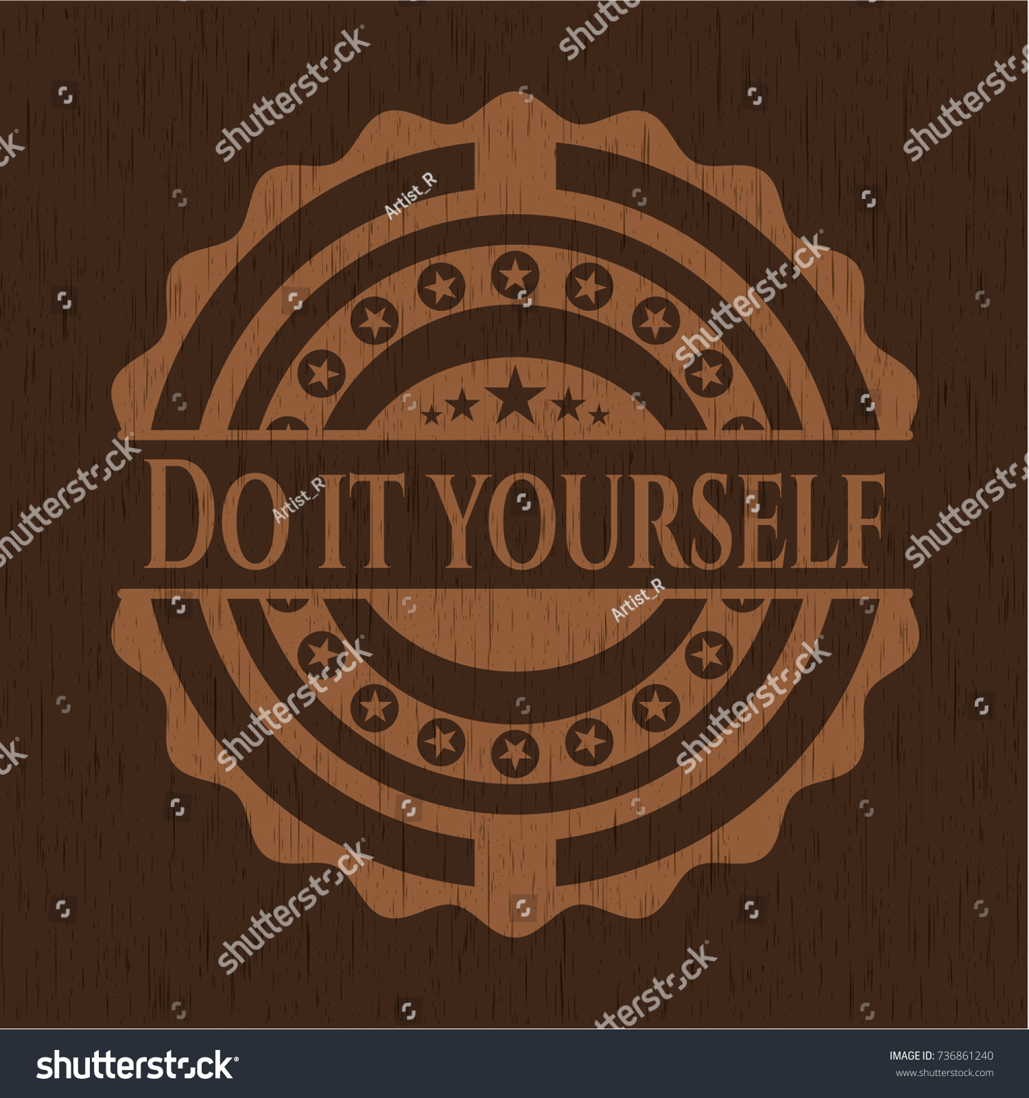 Do yourself badge wooden background stock vector 736861240 do it yourself badge with wooden background solutioingenieria Image collections