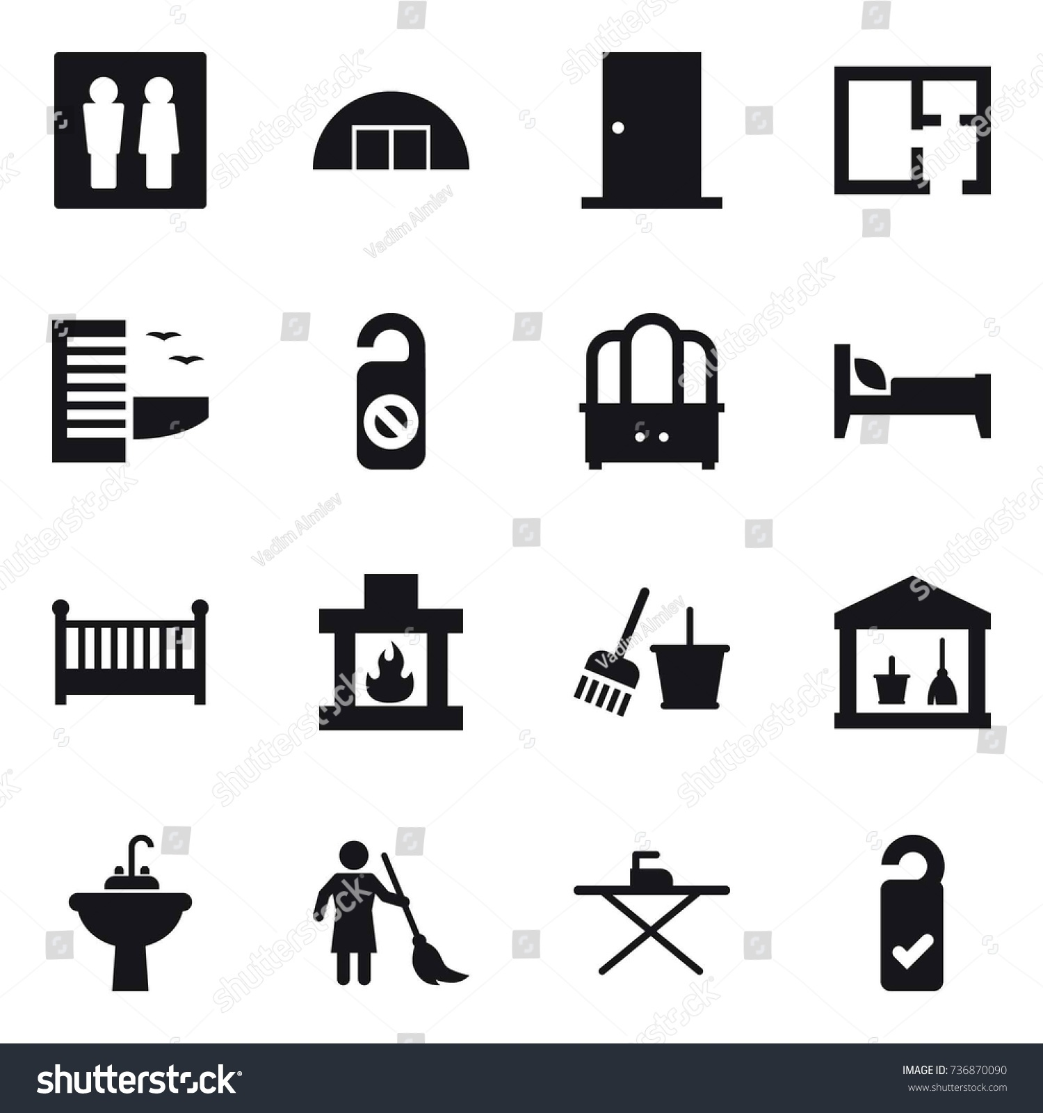 16 vector icon set wc hangare stock vector 736870090 shutterstock