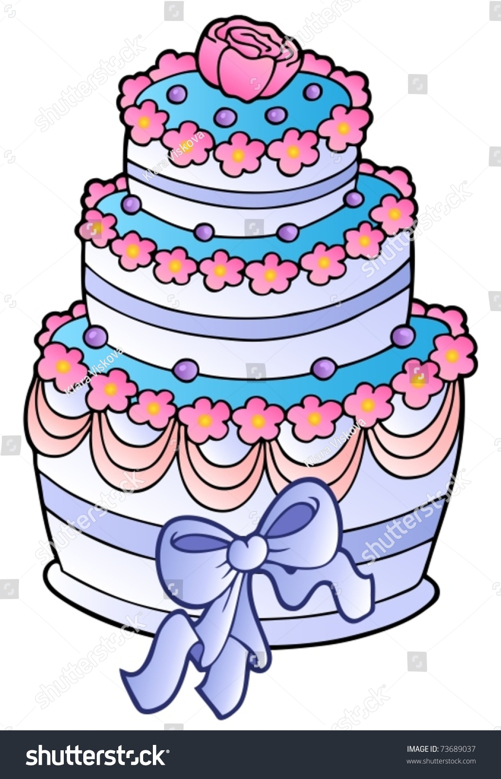 Wedding Cake With Ribbon Vector Illustration