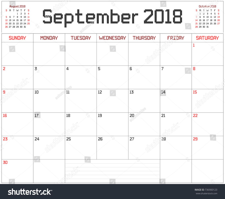 Year 2018 September Planner Monthly Planner Stock Vector