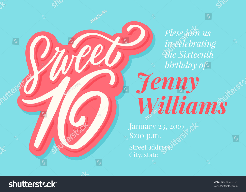 Sweet 16 Sixteenth Birthday Invitation Template Stock Vektorgrafik