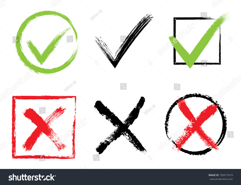 Vector Check Marks Tick Cross Icons Accept Decline Stock Vector