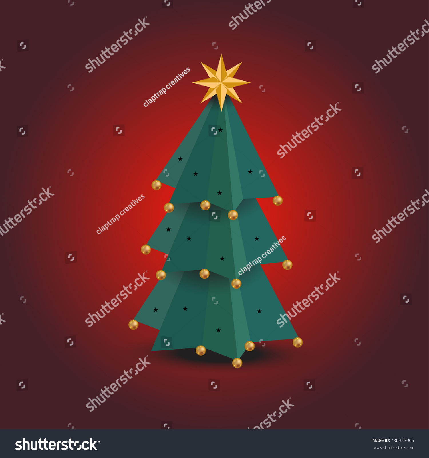 paper christmas tree on red background stock vector 736927069