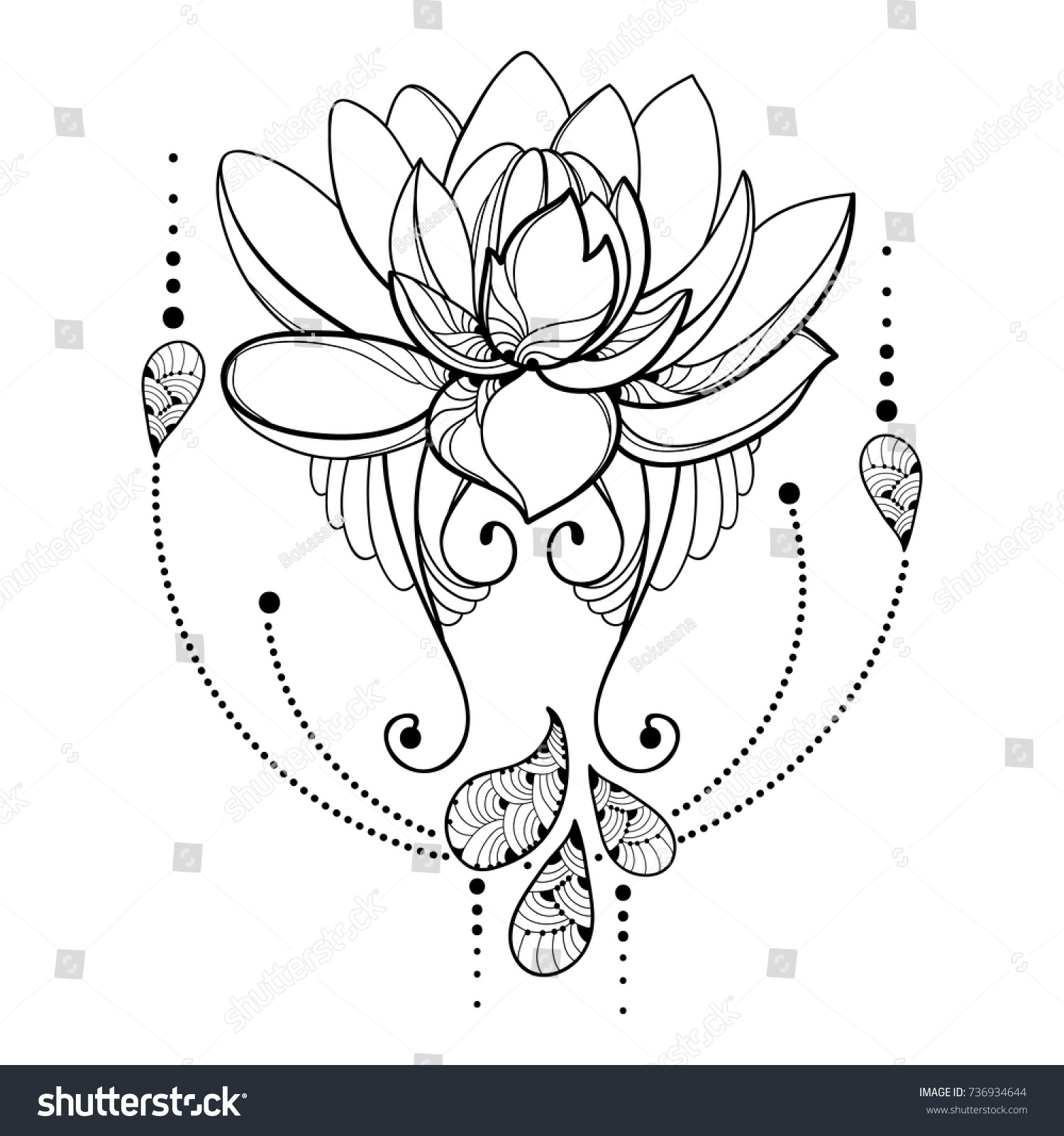 Vector Drawing Outline Lotus Flower Decorative Stock Vector Royalty