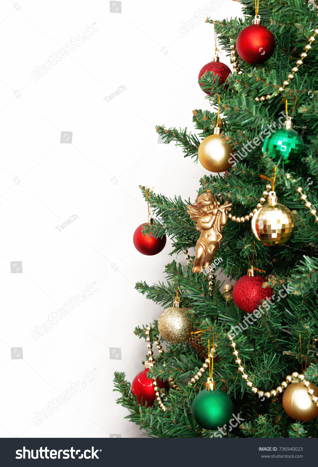 Christmas Tree Toys Golden Angel Isolated Stock Photo (Edit Now ...