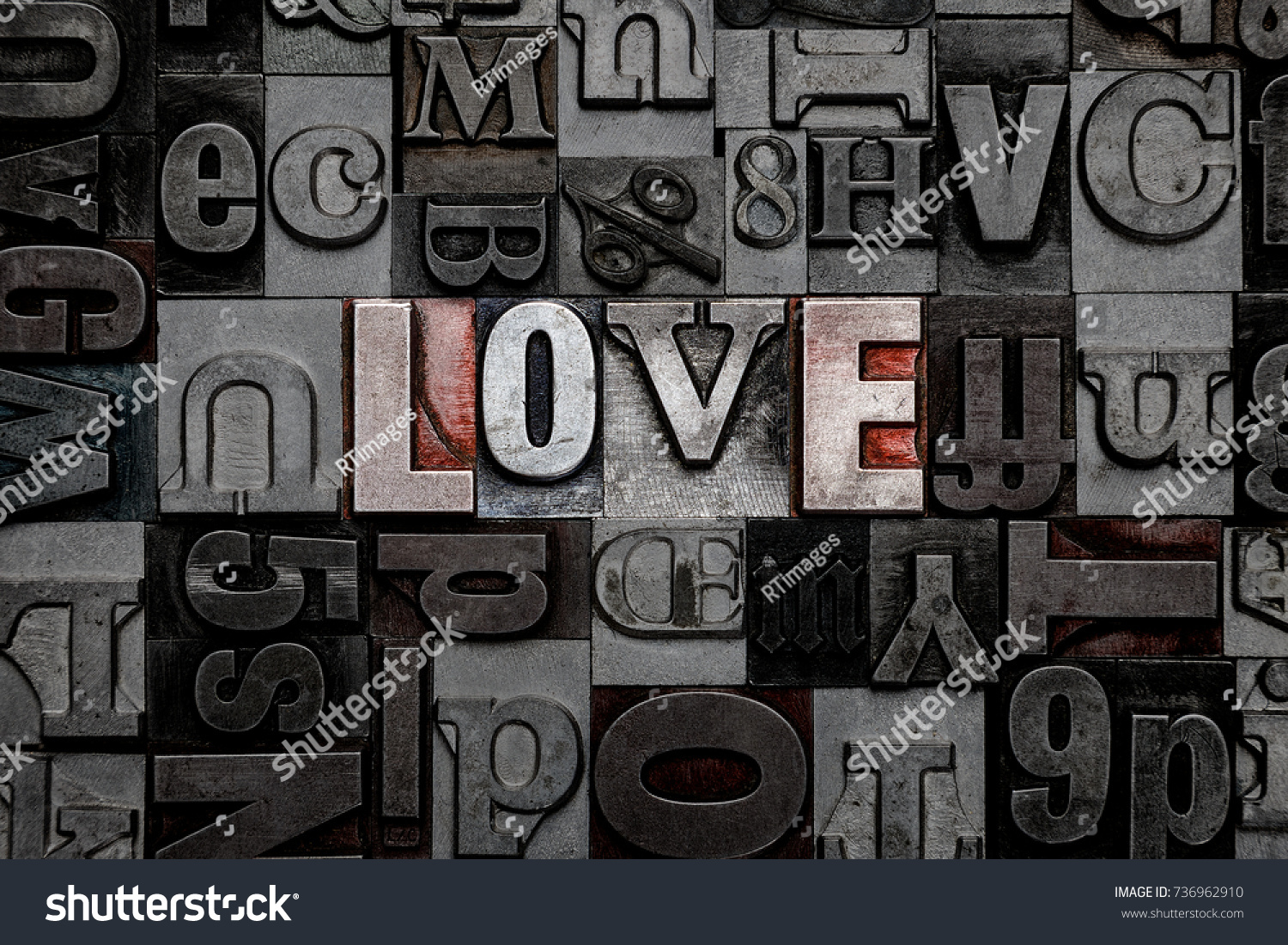 Old Metal Letters Word Love Made Old Metal Letterpress Stock Photo 736962910