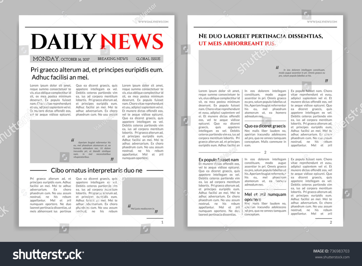 Newspaper Template Design. A Mockup Of A Newspaper Layout For A Business  Promotional News,