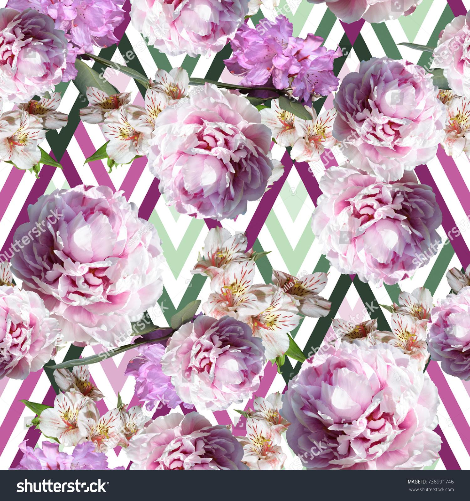 Floral Pattern Close Flowers Background Pink Stock Illustration