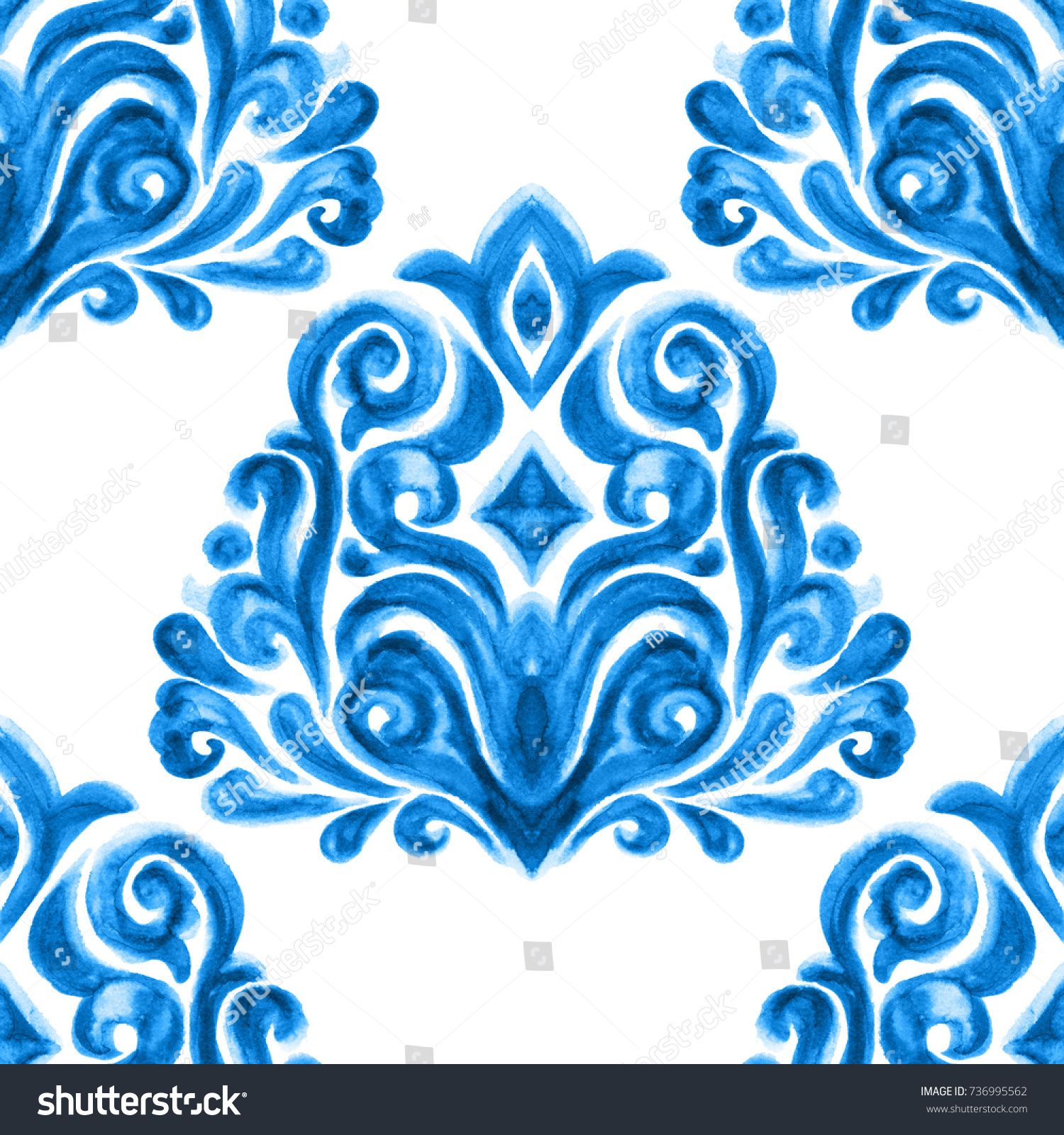 Abstract damask flower seamless ornamental watercolor paint pattern. Elegant luxury texture for wallpapers, backgrounds