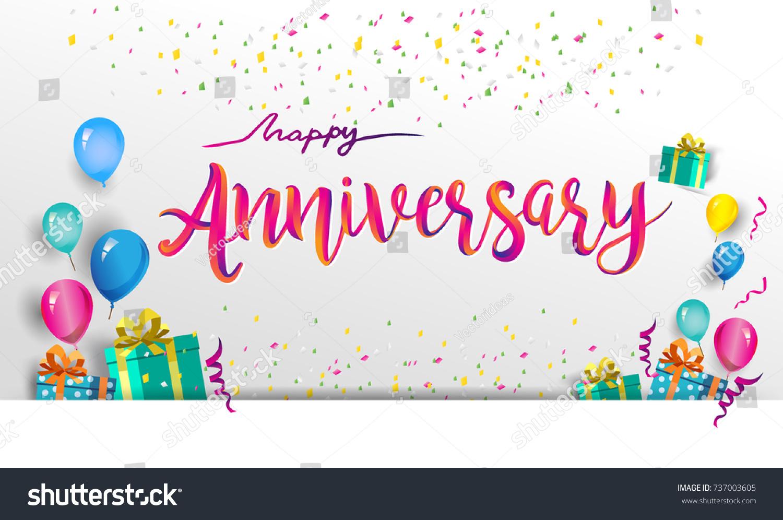 Happy Anniversary Typography Vector Design Greeting Stock Vector