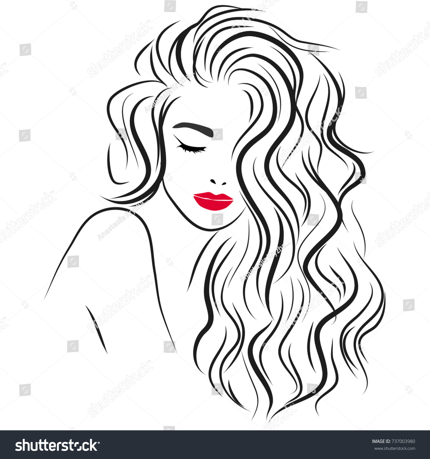 Young Beautiful Girl With Curly Hair Illustration For Beauty Salon