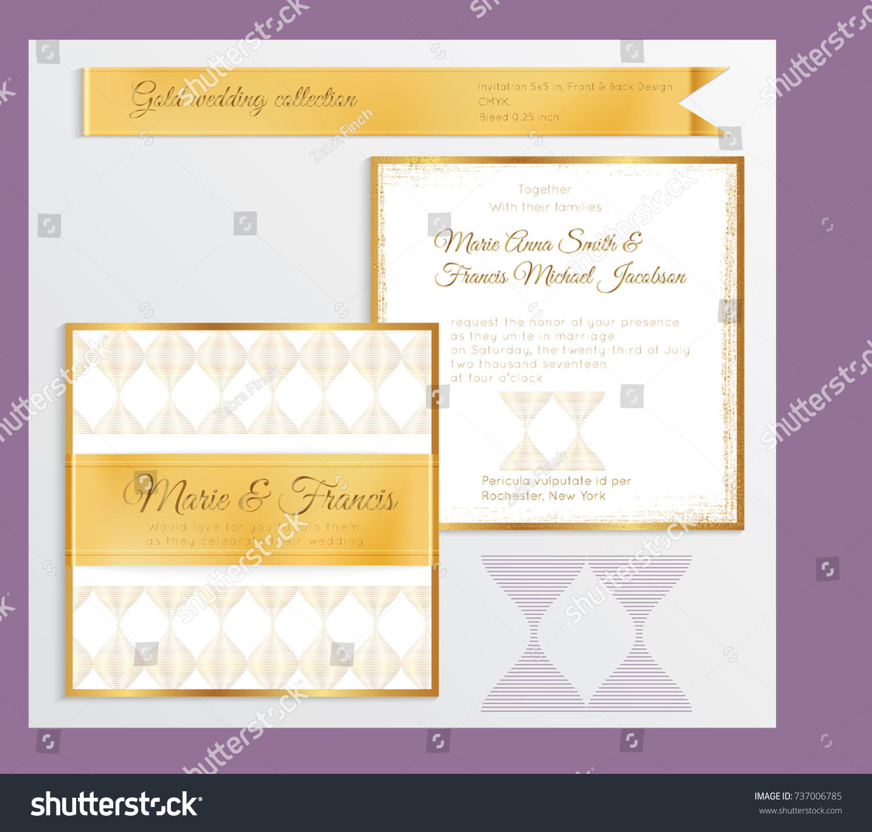 Luxury Wedding Invitation Template Gold Shiny Stock Vector 737006785 ...
