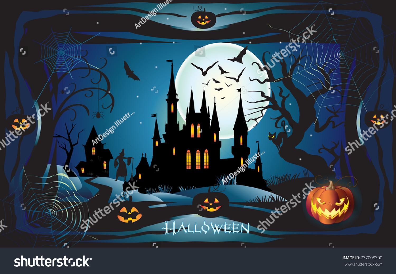 Simple Wallpaper Halloween Batman - stock-vector-halloween-night-background-with-pumpkin-haunted-house-and-full-moon-wallpaper-or-invitation-737008300  Image_36815.jpg