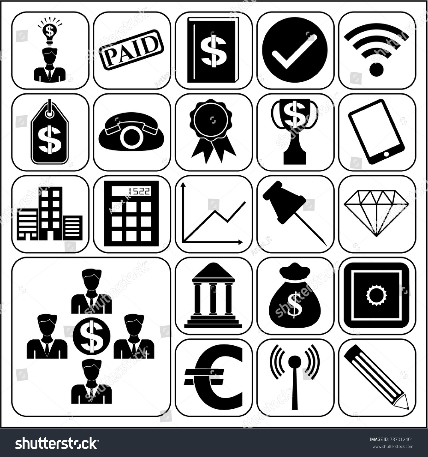 Set 22 Business Icons Symbols Pictograms Stock Vector Hd Royalty