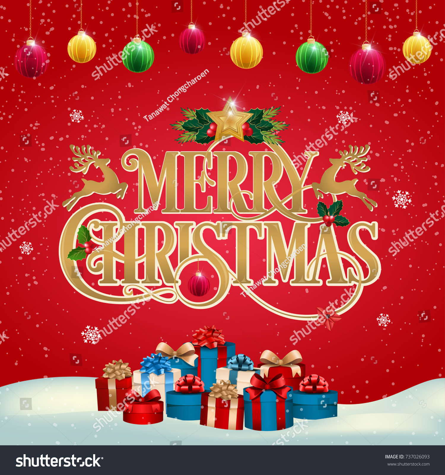 Holiday Frame Merry Christmas Background Design Stock Vector ...
