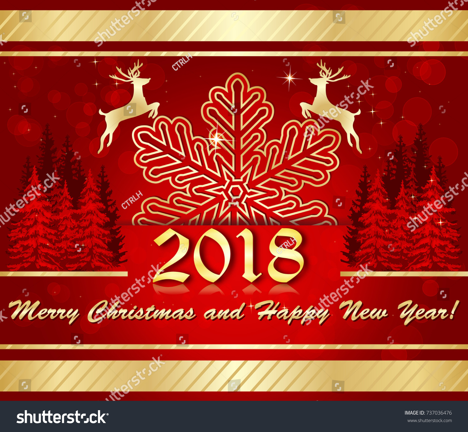 Corporate greeting card christmas new year stock illustration corporate greeting card for christmas and new year contains an elegant snowflake reindeer shape kristyandbryce Image collections