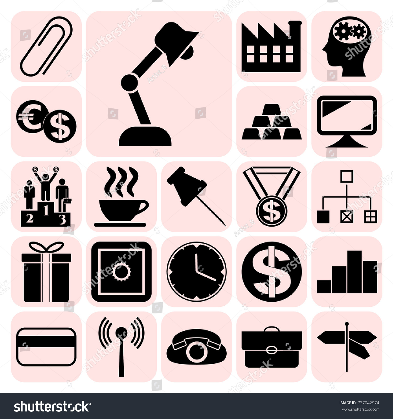 Set 22 Business Symbols Icons Collection Stock Vector 737042974