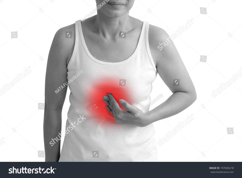 Woman Have Symptoms Burning Sensation Middle Stock Photo