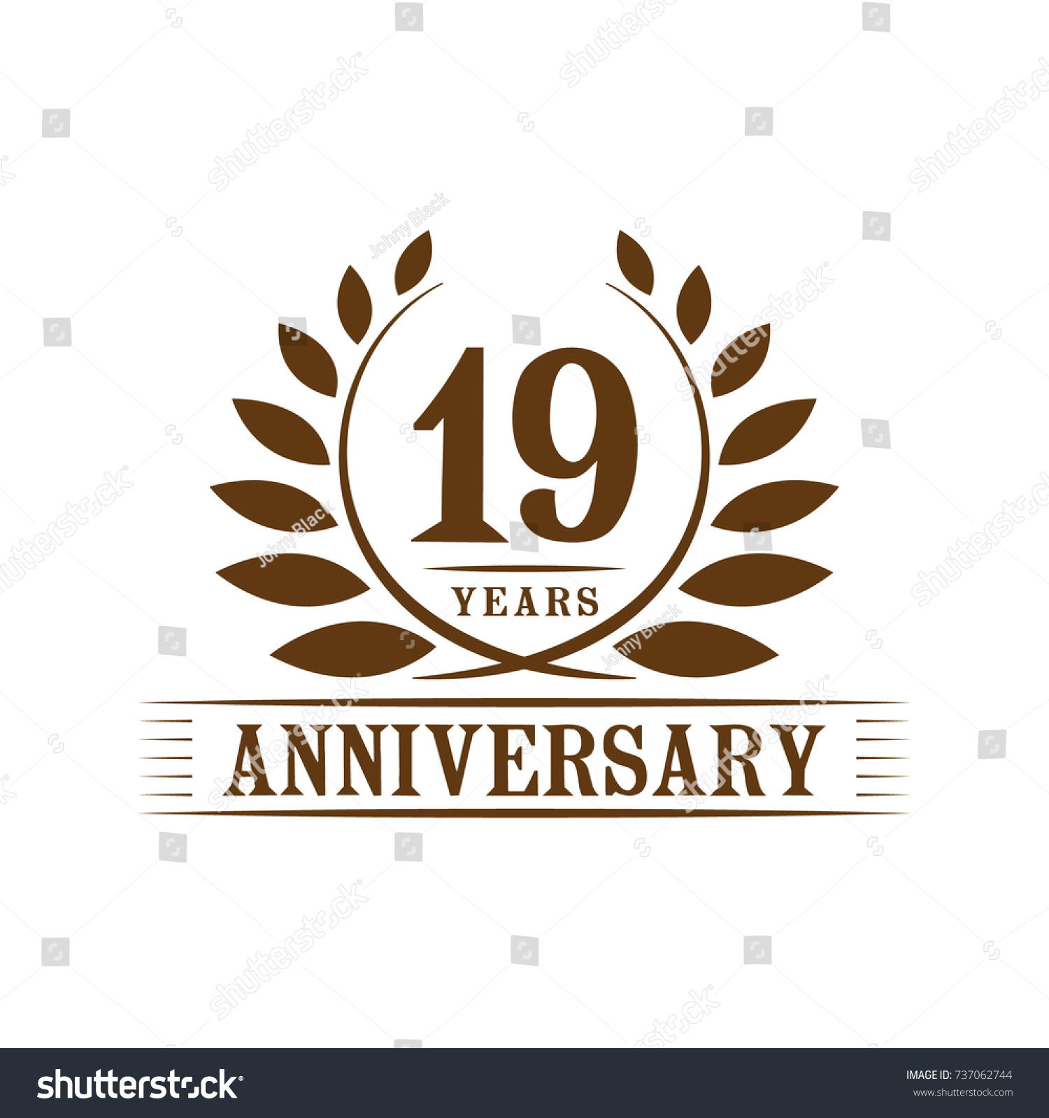 19 years anniversary logo template のベクター画像素材 ロイヤリティ