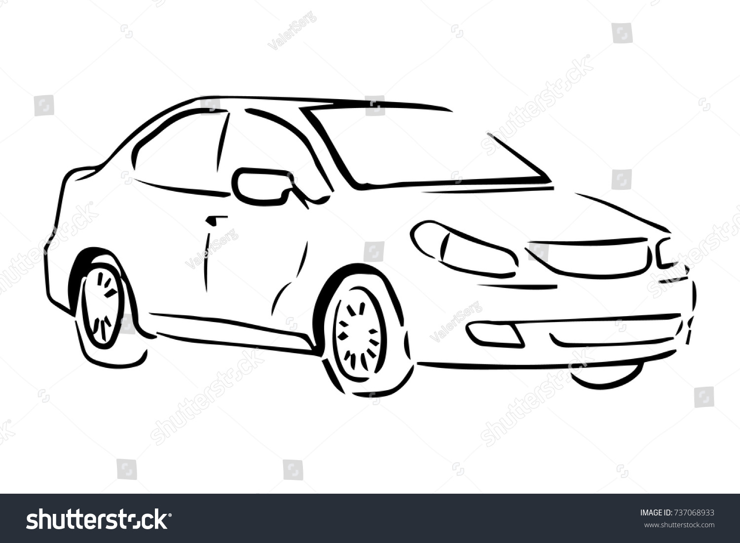 Car side view black white vector stock vector royalty free