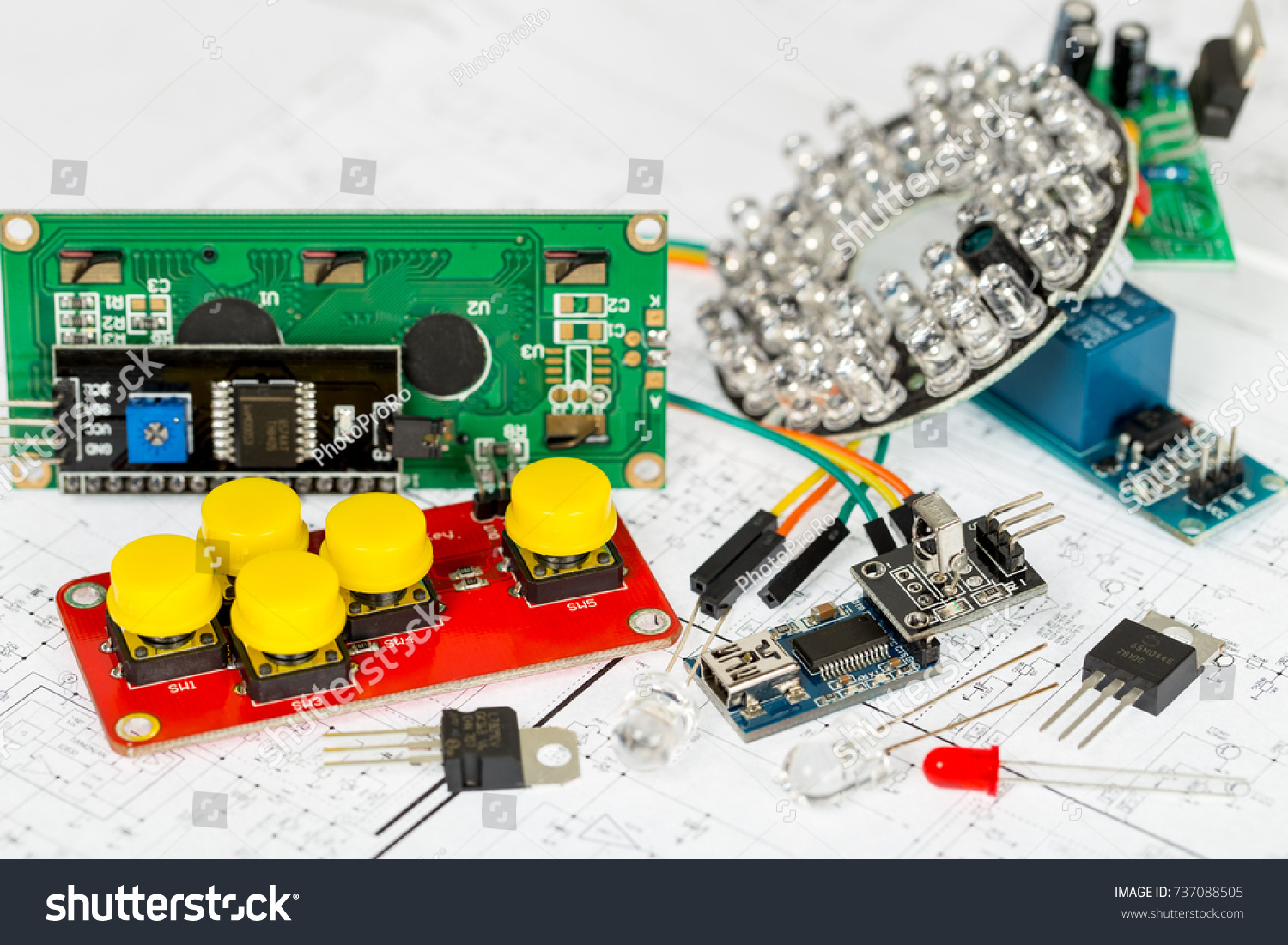 Arduino Components Electronic Over Stock Photo Circuit Board Schematics Further Puter Chip Schematic And Diagram Printed Wiring Transistors Integrated Circuits