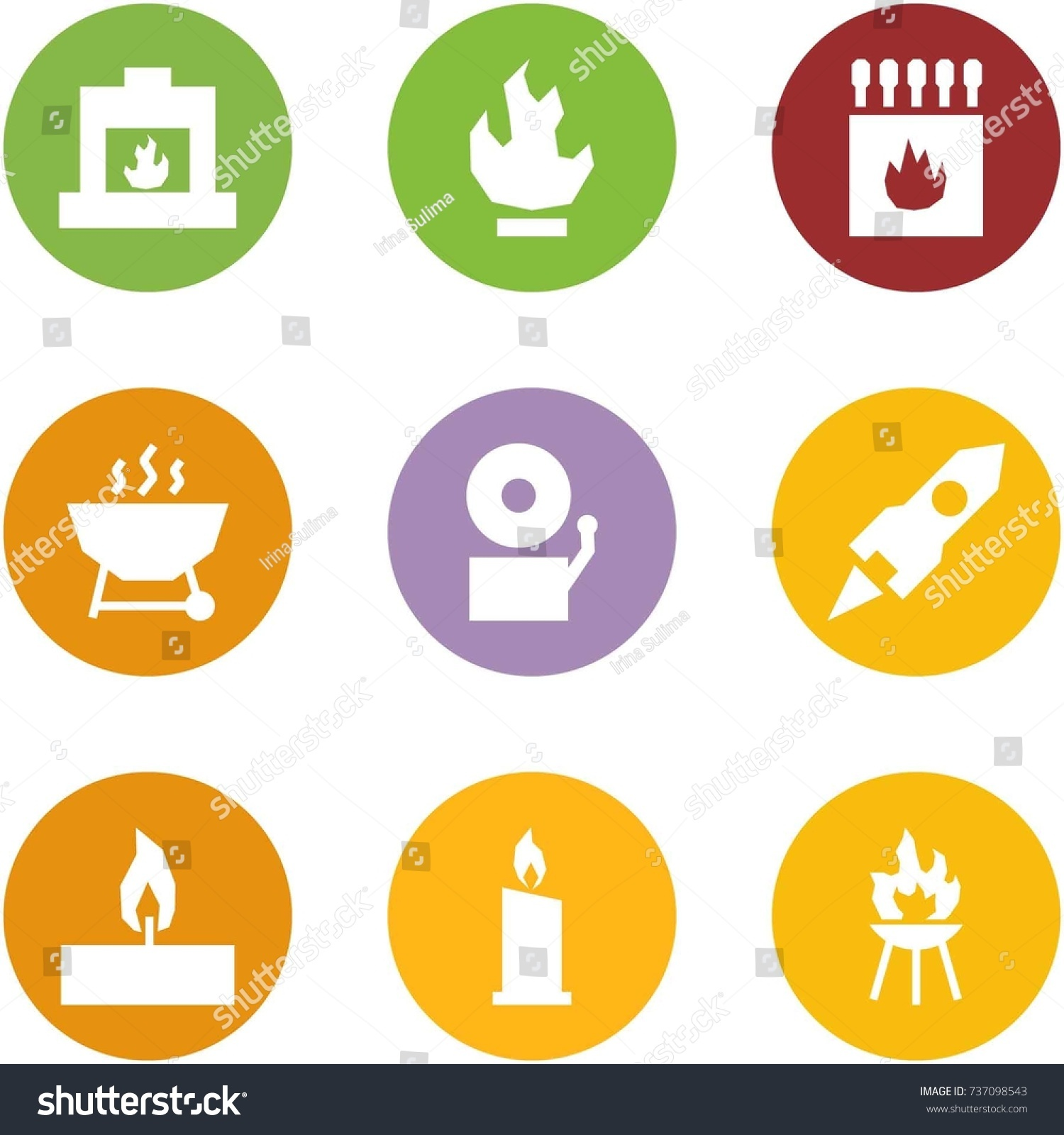origami corner style icon set fireplace stock vector 737098543