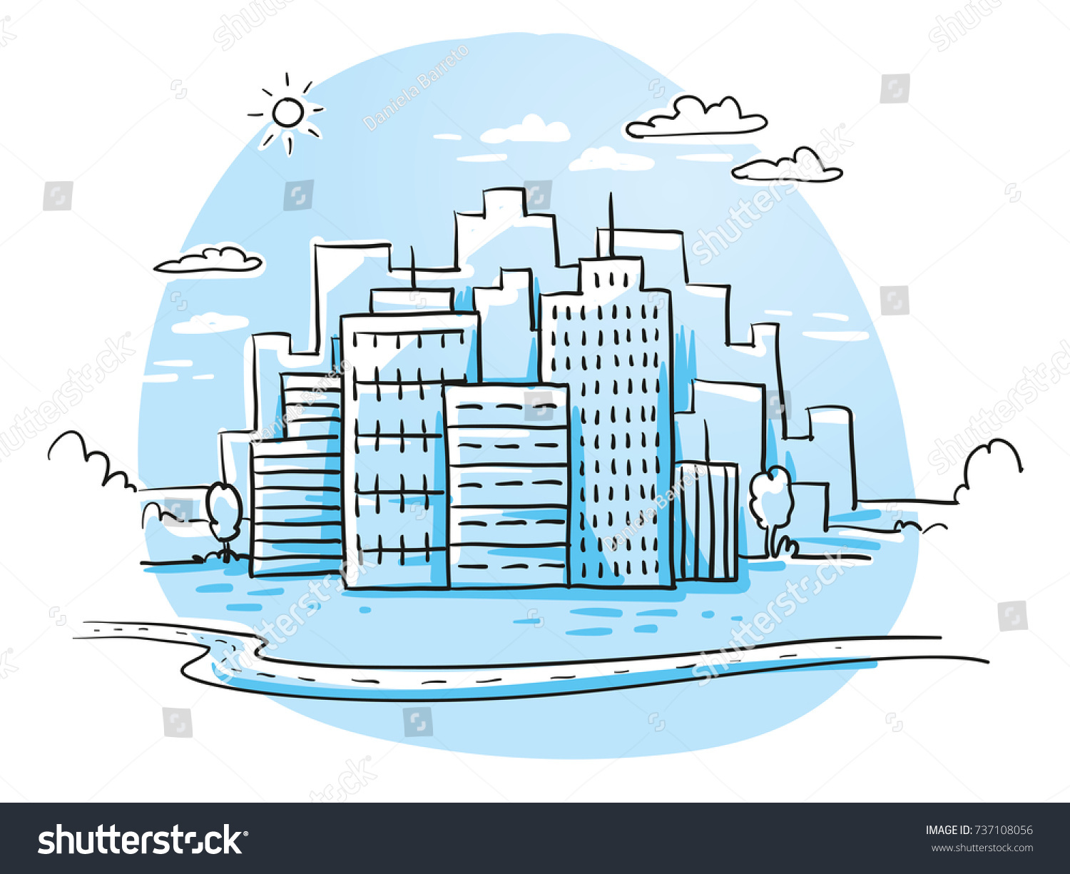 Colorful City View Office Buildings Skyline Stock Vector (Royalty ...