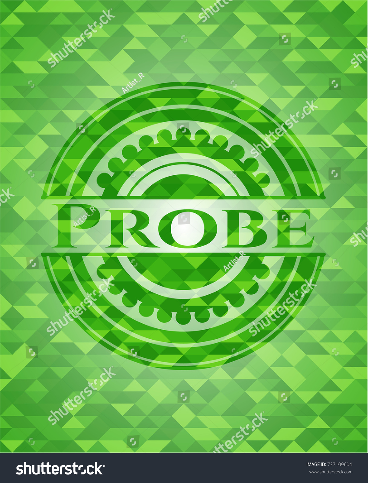 Probe Green Emblem Triangle Mosaic Background Stock Vector 737109604 ...