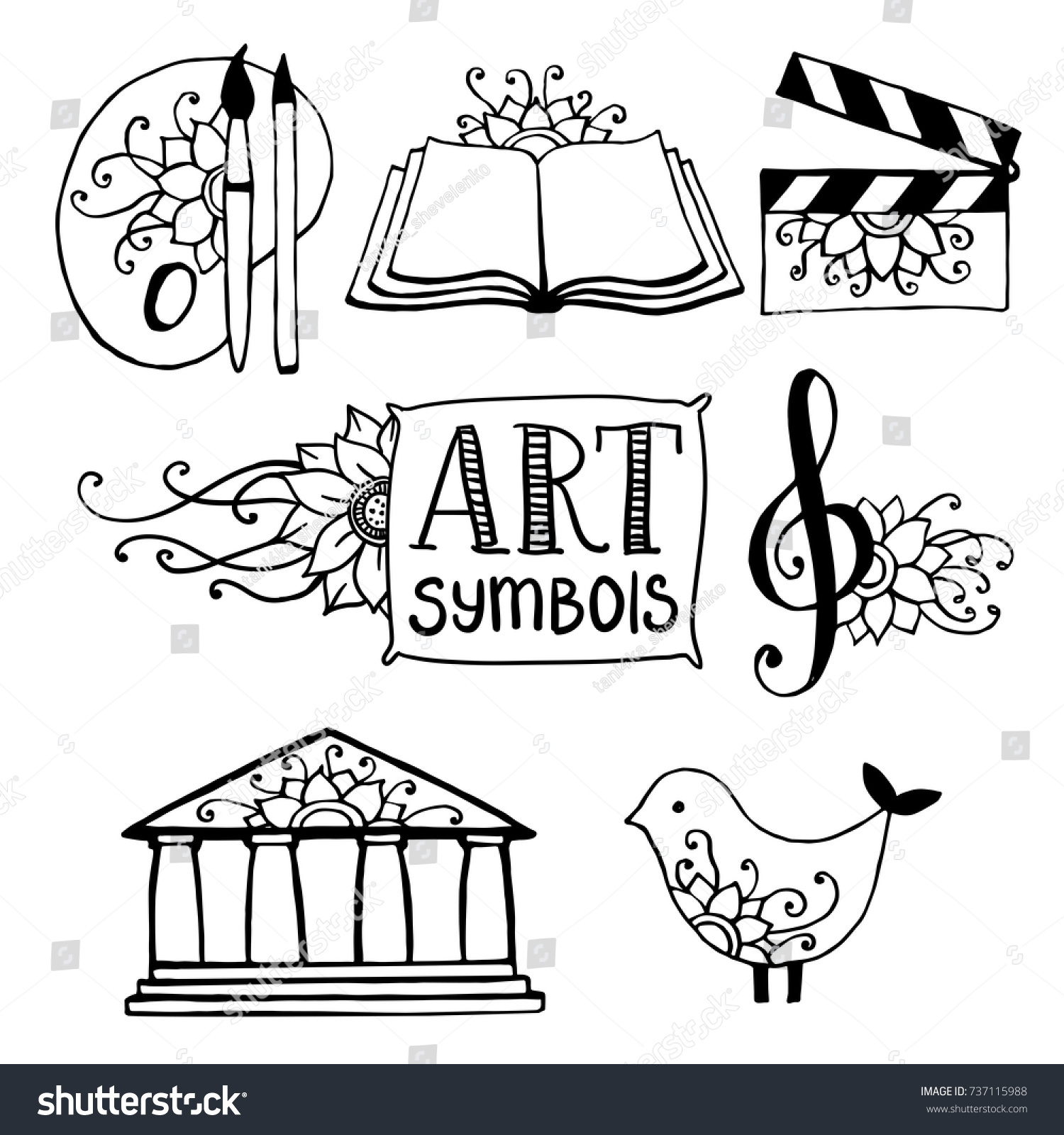 Sketch Art Symbols Icons Painting Literature Stock Vector Royalty