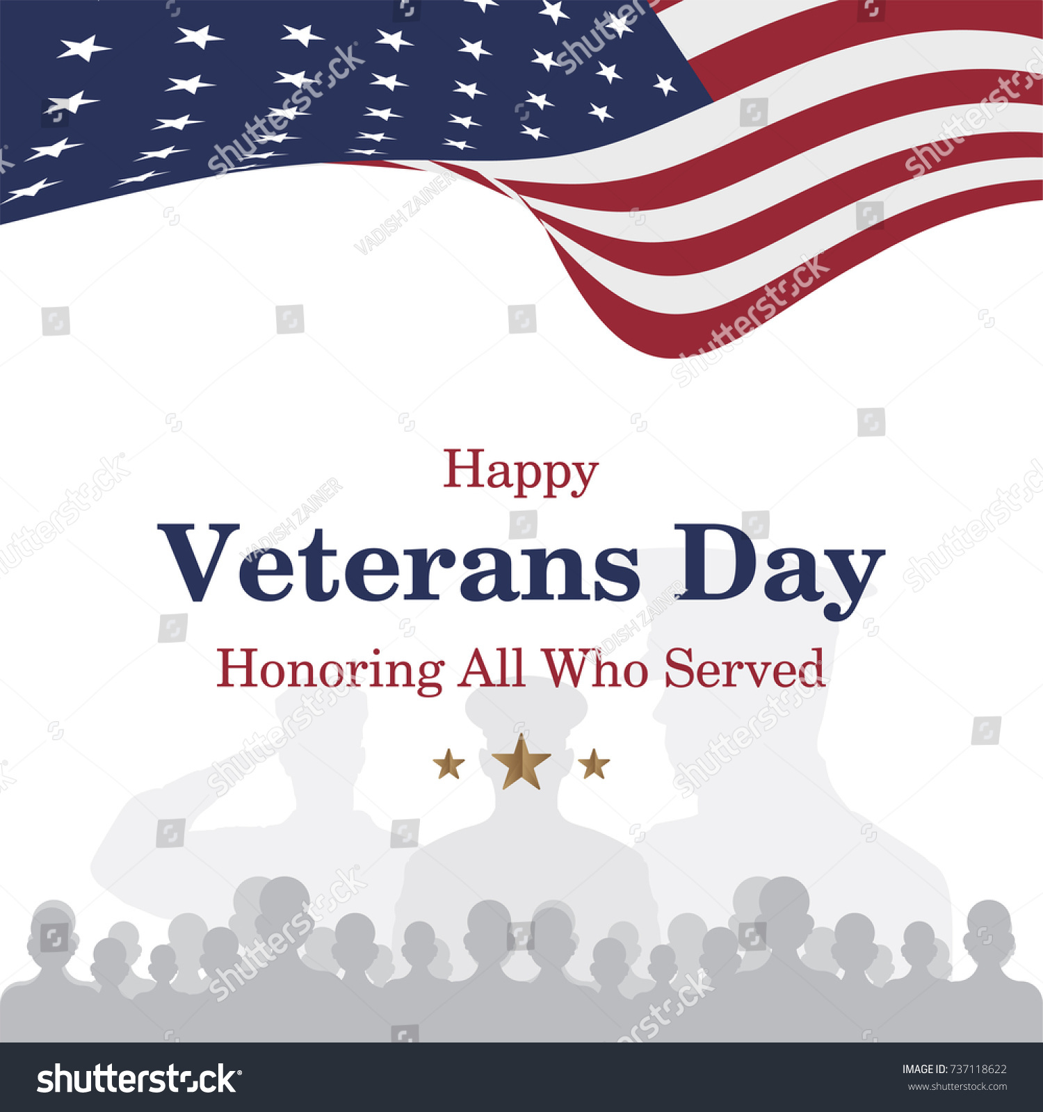 Happy veterans day greeting card usa stock vector 737118622 greeting card with usa flag and soldier on background national american kristyandbryce Images