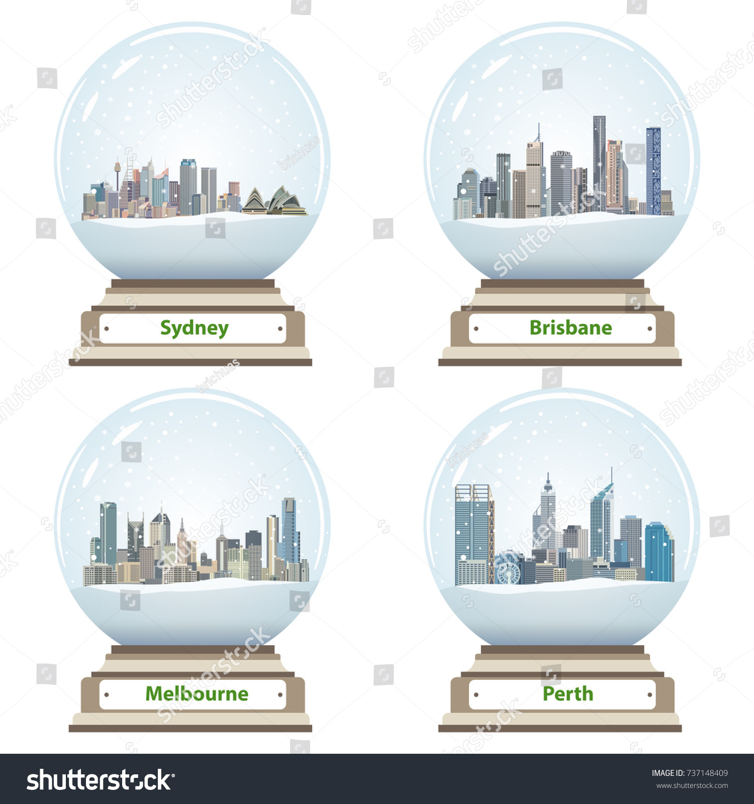 Vector Collection Snow Globes Australian City Stock Skylines Melbourne