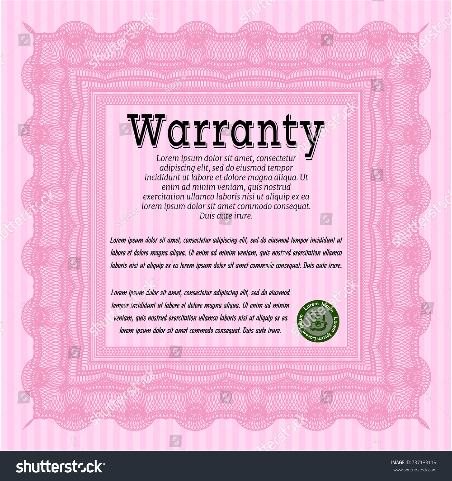 Pink blue horizontal guilloche certificate sample letter for pink vintage warranty certificate template detailed stock vector stock vector pink vintage warranty certificate template detailed yelopaper Choice Image