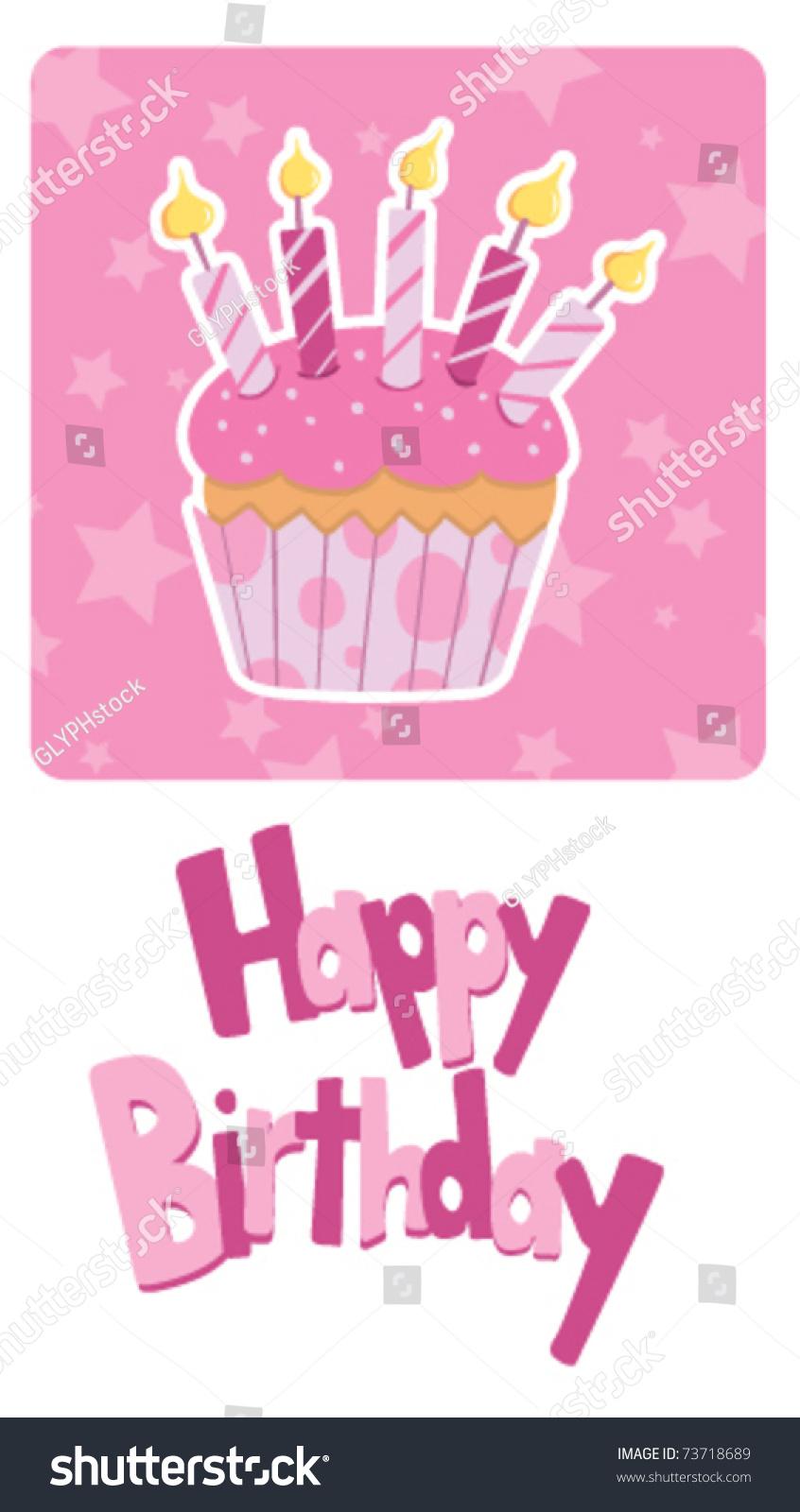 Vector Birthday Card Little Girl Vector 73718689 Shutterstock – Little Girl Birthday Cards