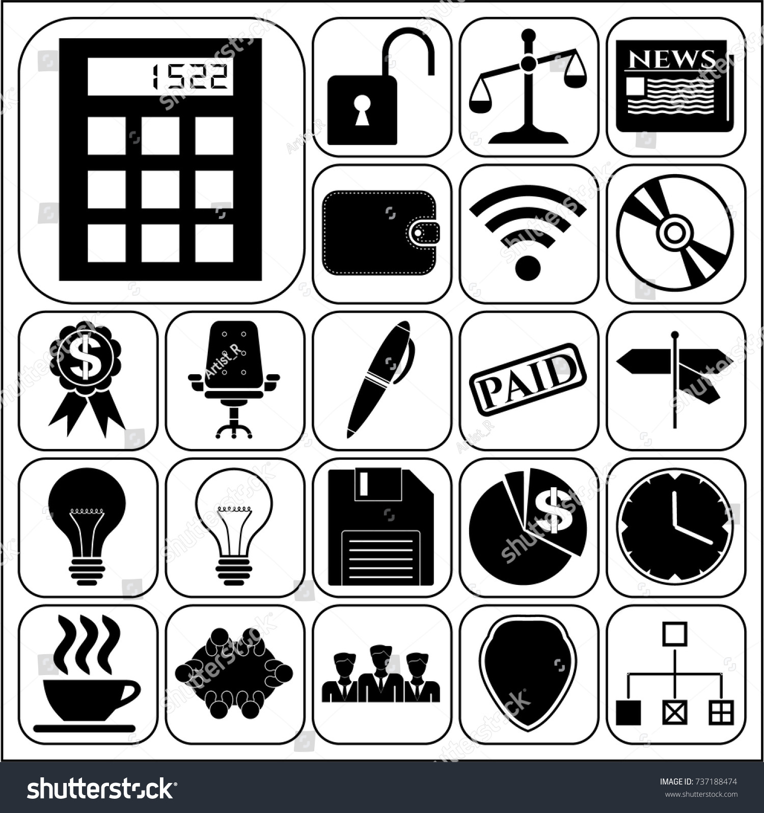 Set 22 business icons high quality stock vector 737188474 set of 22 business icons high quality collection flat design vector illustration yadclub Image collections