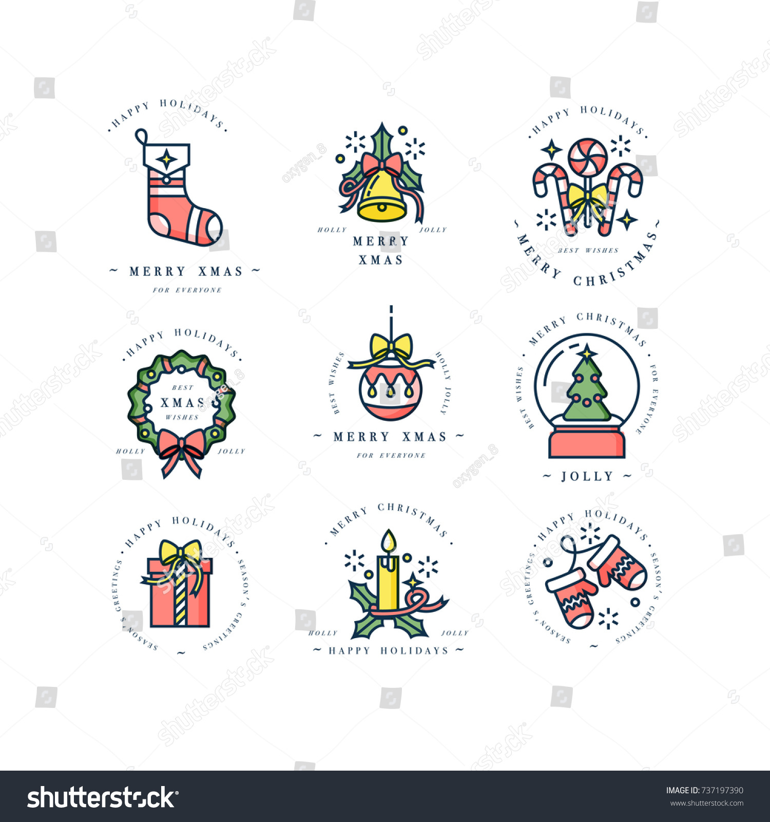 Vector Linear Design Christmas Greetings Elements Stock Vector ...