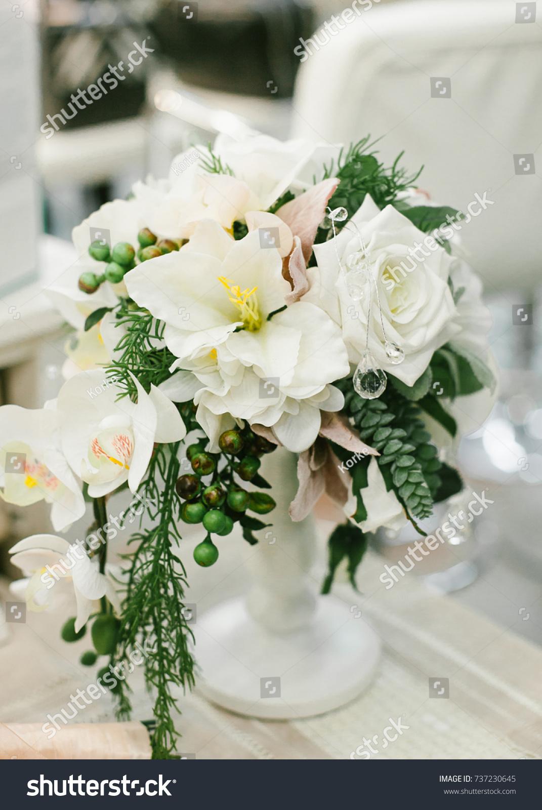 Wedding Table Centerpieces White Floral Composition Stock Photo Edit Now 737230645