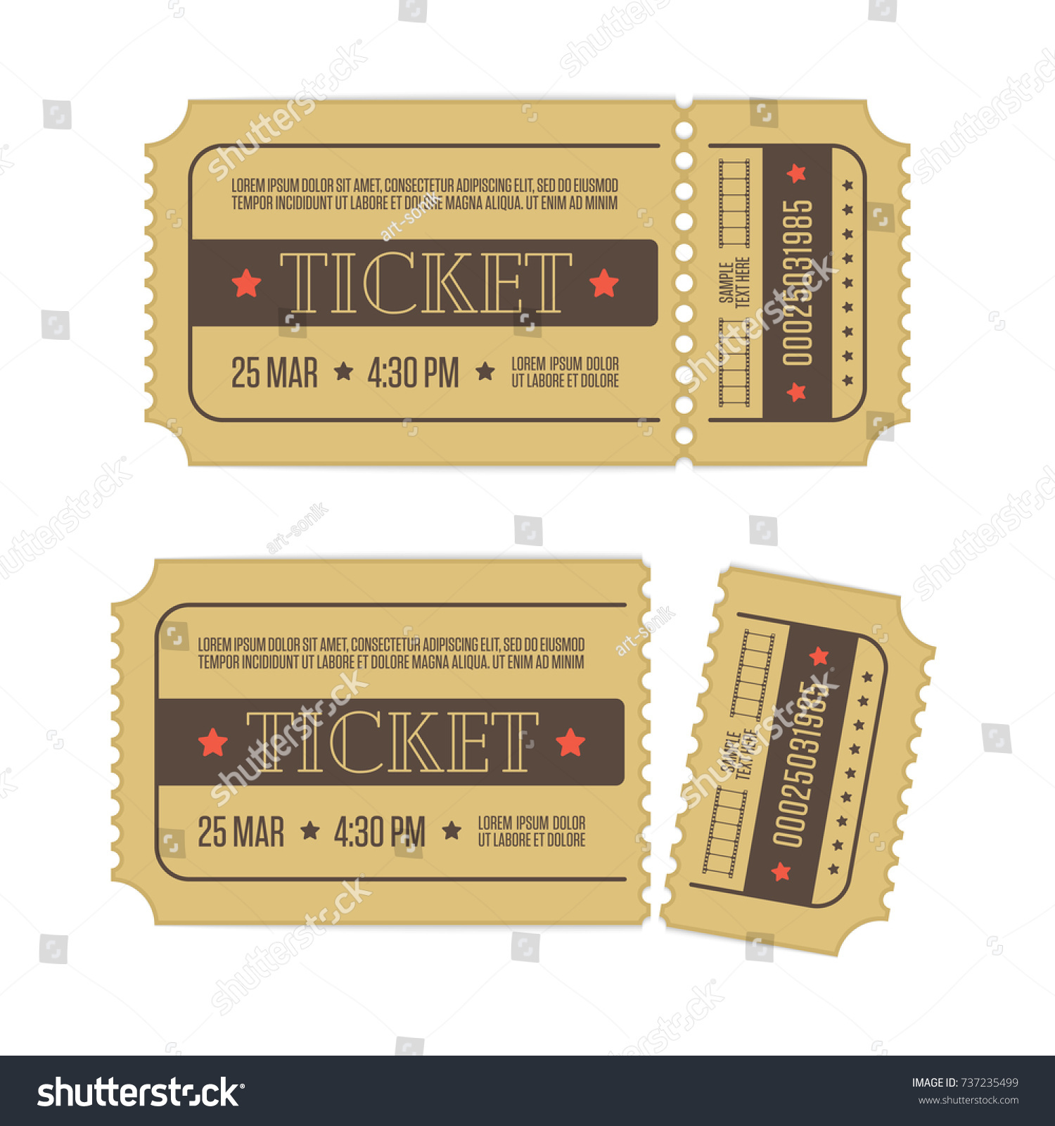 Retro Cinema Ticket Template Isolated On Stock Vector (Royalty Free ...