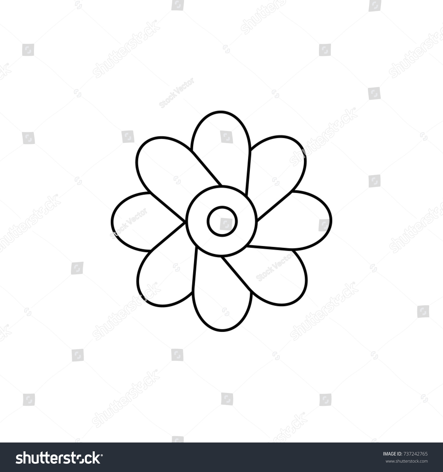 Abstract Type Flowers Line Icon On Stock Photo Photo Vector