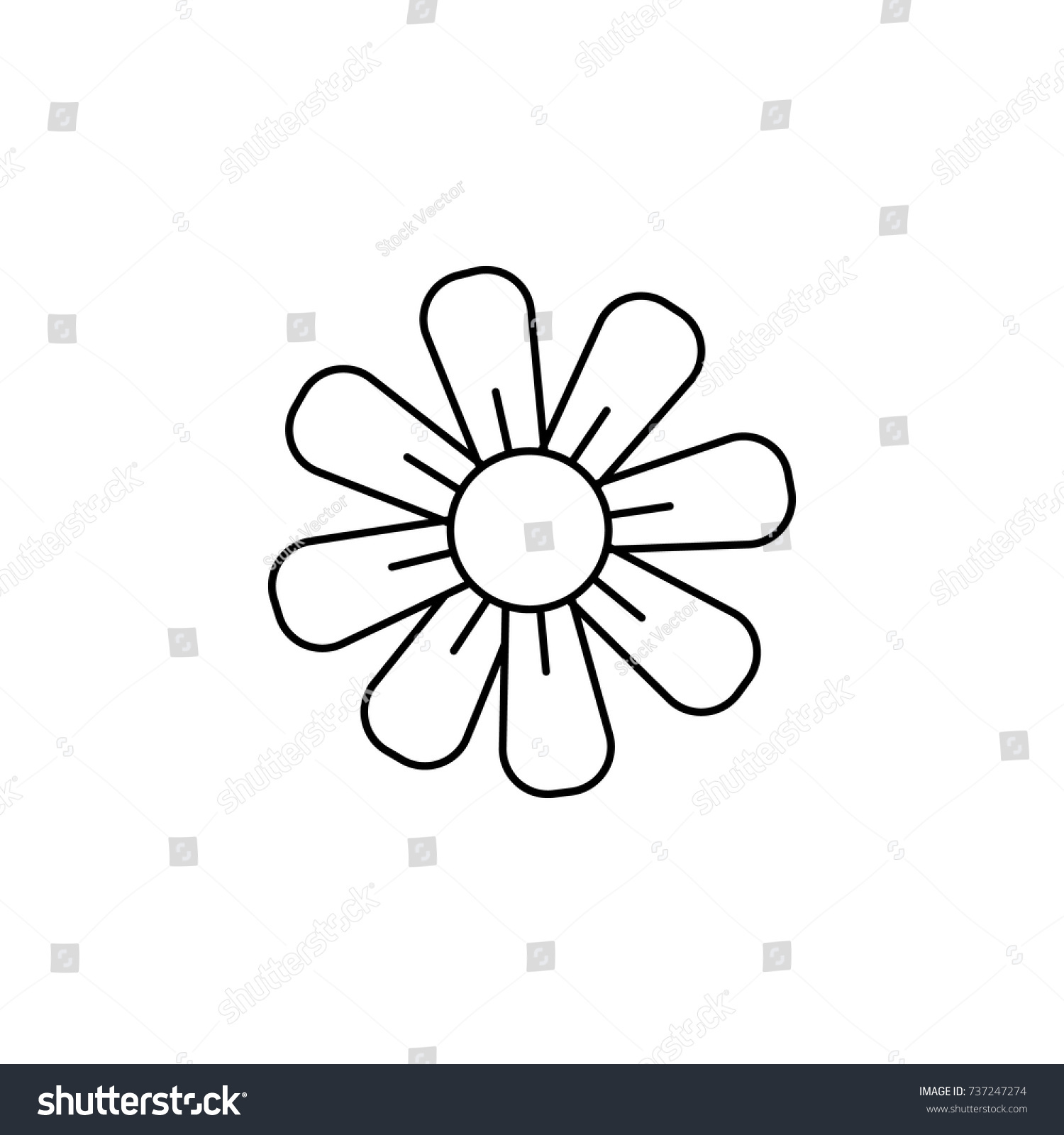 Abstract Type Flowers Line Icon On Stock Vector 737247274 Shutterstock