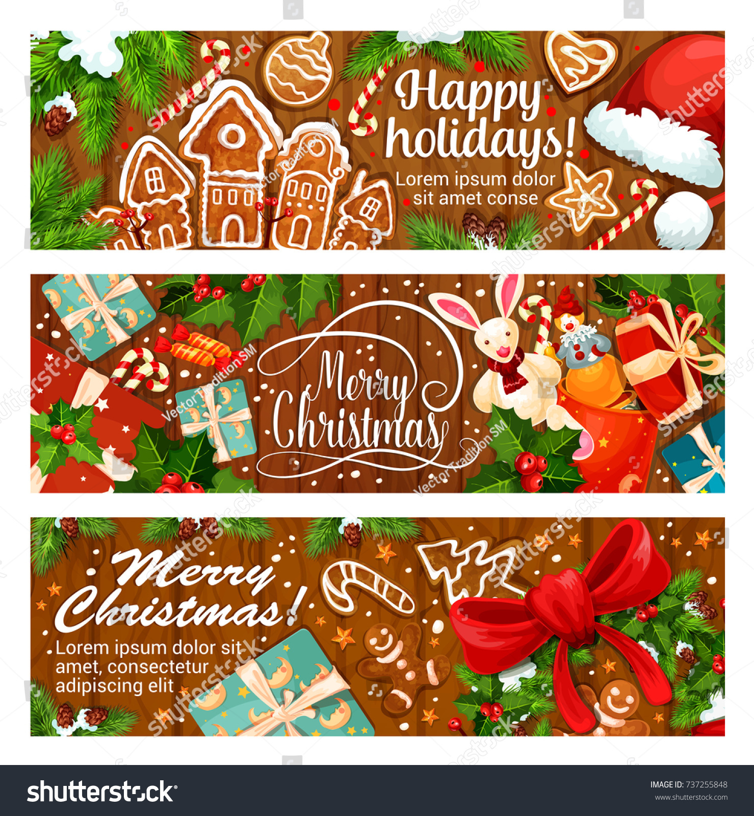Merry Christmas Happy Holidays Wish Greeting Stock Vector Royalty