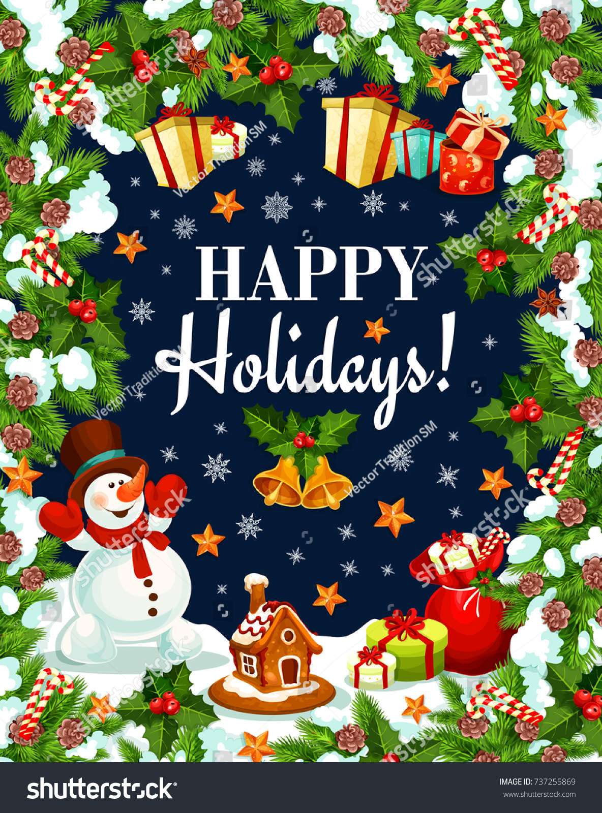 Happy Holidays Wishes Greeting Card Fro Stock Vector Royalty Free
