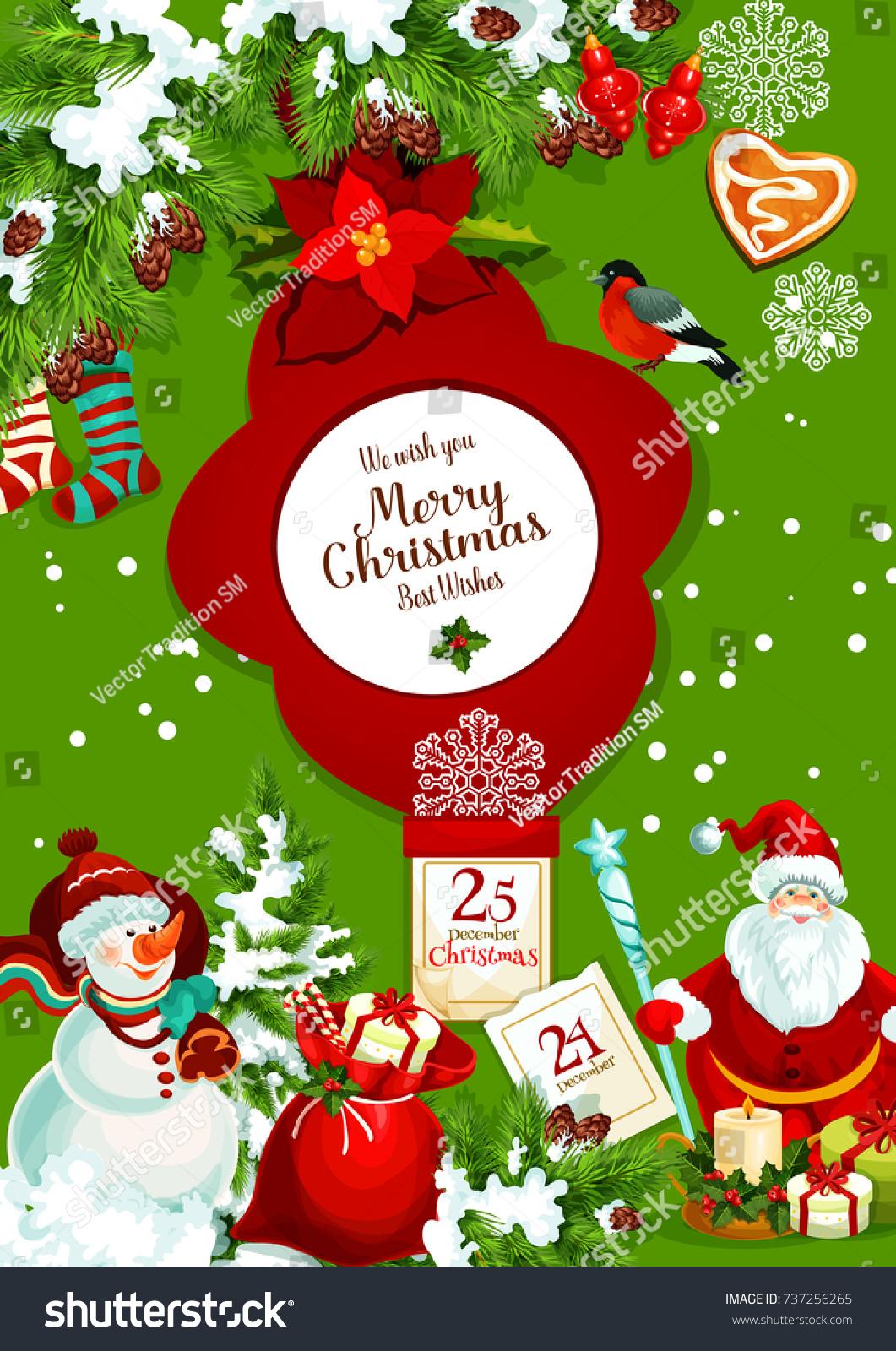 Santa claus snowman gift bag christmas stock vector 737256265 santa claus and snowman with gift bag for christmas greeting banner xmas tree and holly kristyandbryce Choice Image