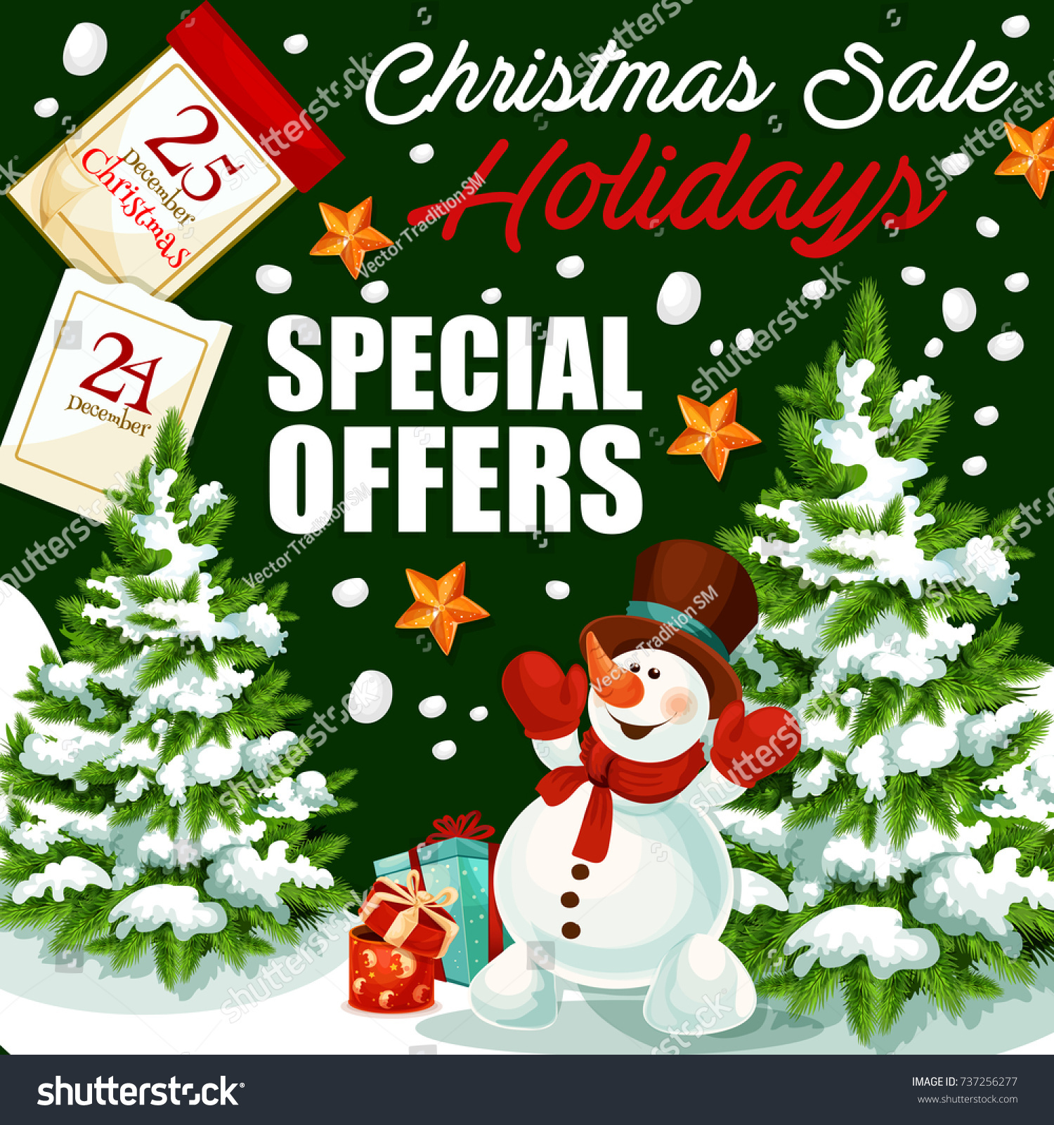 Christmas Holidays Sale Promo Poster Gifts Stock Vector (Royalty ...