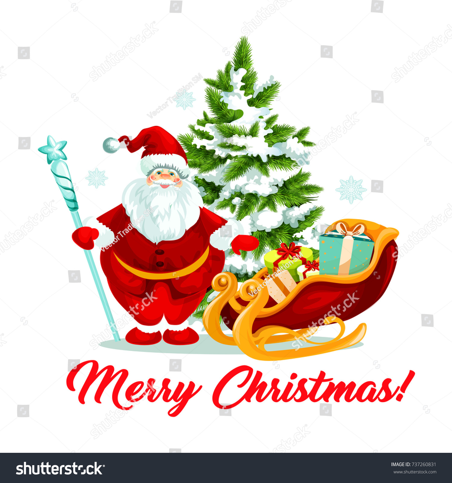 Merry Christmas Greeting Card Design Template Stock Vector Royalty
