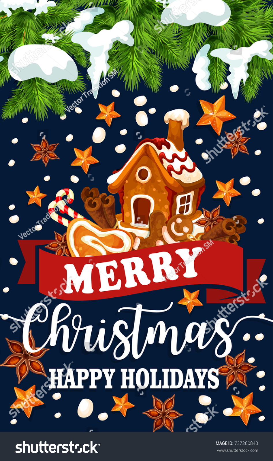 Merry christmas happy holidays greeting card stock vector 737260840 merry christmas happy holidays greeting card of gingerbread cookie house decoration on christmas tree vector kristyandbryce Gallery