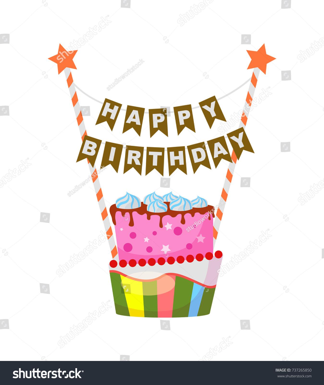 Birthday cake cartoon style holiday congratulation stock vector birthday cake in cartoon style holiday congratulation element event decoration object children party biocorpaavc